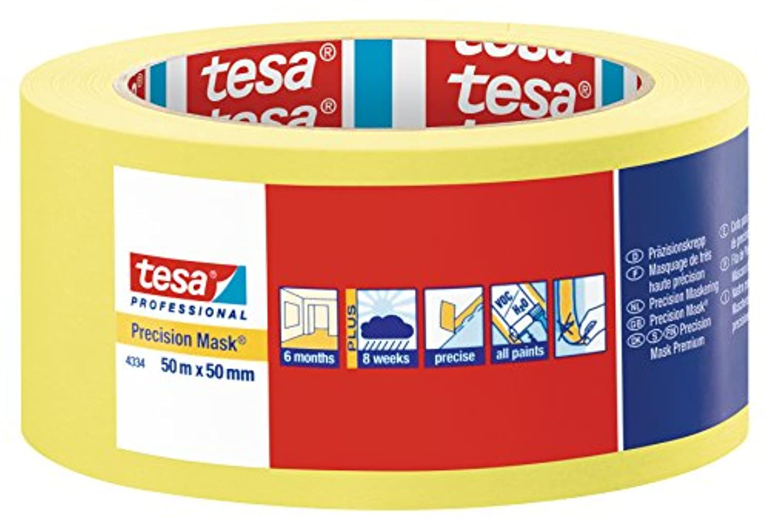 tesa 43340000400 Precision Mask Indoor Masking Tape for Painting and Decorating, Residue Free Removal, 50 m x 50 mm