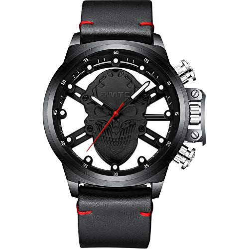 GIMTO Cooler Punkschädel Männer Sehen Kreatives Skelett Luxus Gold Quarz Armbanduhren Leder-Beiläufige Männliche Uhr,A