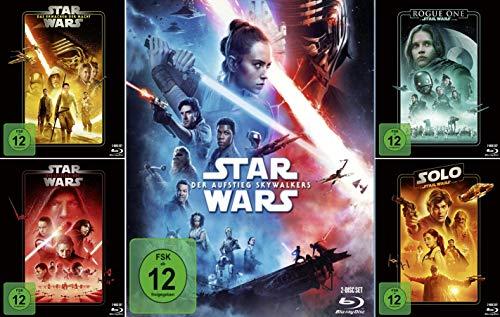 Star Wars Paket - Das Erwachen der Macht (7) + Die letzten Jedi (8) + Der Aufstieg Skywalkers (9) + Rogue One: A Star Wars Story + Solo: A Star Wars Story [Blu-ray]