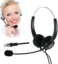 TelPal Hands-Free Call Center Noise Cancelling Corded Binaural Headset Headphone 4-Pin RJ9 Crystal Head Mic Mircrophone Desk Phone - Telephone Counseling Services, Insurance, Hospitals