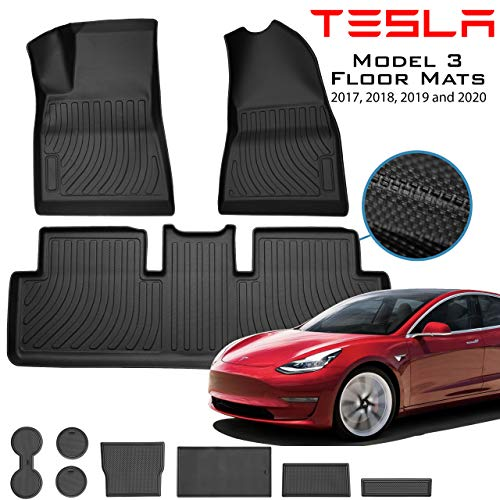 Homeland Hardware (Sale) Tesla Model 3 Floor Mats Liners Complete Set in Black for Models All-Weather 4D Multi-Layer Custom Laser Cut 4D Max Chain Rolled Carbon Series Non Slip (US Based Seller)