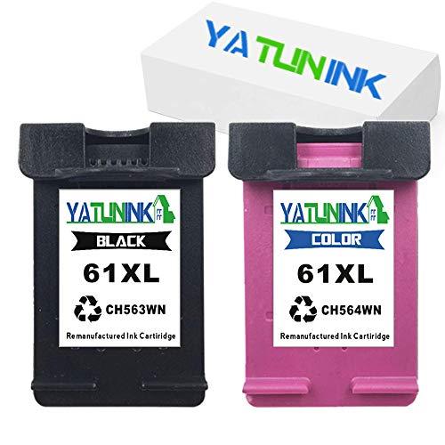 YATUNINK 2 Pack Remanufactured Ink Cartridge Replacement for HP 61XL Envy 4500 Envy 4502 Envy 5530 Deskjet 1510 Deskjet 2050 Officejet 2620 Officejet 4630 Printers (1Black+1Color)