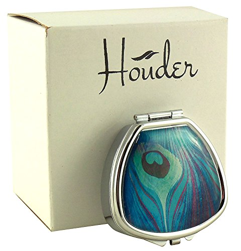 Houder Designer Pill Box - Decorative Pill Case with Gift Box - Carry Your Meds in Style (Peacock Feather)