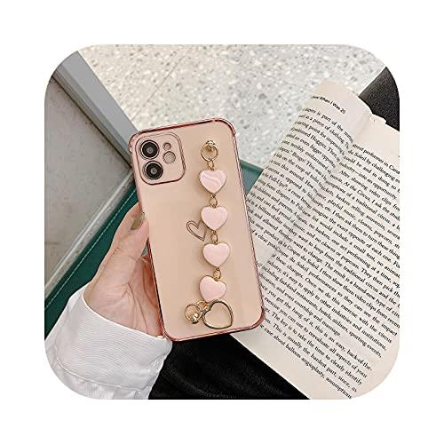 Love Heart Bracelet Funda para iPhone 11 12 Pro Max XS Max X XR 7 8 Plus 12 Mini SE 2020 Cámara Protección Cordón Coque-Rosa para iPhone X