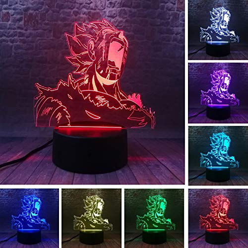 Amroe Super Saiyajin Vegeta Dragon Ball Gott Goku Aktion Stärke Bomben Figuren Weihnachten 3D LED Nachtlicht USB Tischlampe Kinder Geburtstag Geschenk Nachtbett Dekoration