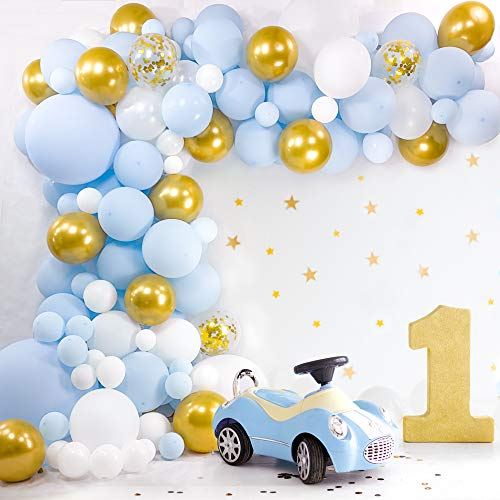 BLOONSY Baby Blue Balloon Garland Kit | Balloon Arch Kit for Baby Boy Shower | 120 Pack | Light Pastel Blue and Gold Balloons
