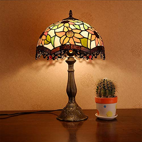 VIWIV Lámpara de escritorio, estilo Tiffany, lámpara de mesa, lámpara de sol, europea, flor, jardín, dormitorio, mesita de noche, lámpara creativa de moda americana, luz de mesa retro 30 x 50 cm
