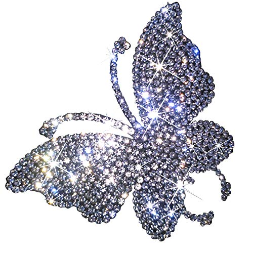 2 Pack Butterfly Bling Crystal Rhinestone Car Sticker Decal,Decorate Cars Bumper Window Laptops Luggage Rhinestone Sticker ,Decoration Bling Bling Interior Accessories