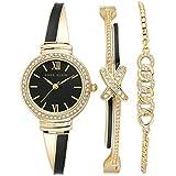 Anne Klein Women's Japanese Quartz Watch with Metal Strap, Black, 12 (Model: AK/3572BKST)