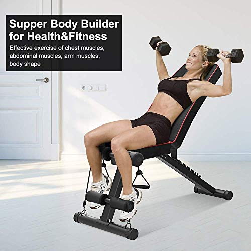 Bigzzia Adjustable Weight Bench - 7 Positions, 330 lbs Capacity, Folding Flat/Incline/Decline FID Bench, Perfect for Full Body Workout and Home Gym