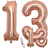 Globos Número 13 Cumpleaños XXL de oro rosa - Helio Globo de lámina gigante en 2 tamaños 40 y 16 | Set XXL 100cm + Mini 40cm version Decoraciones de cumpleaños |Ideal para el 13 Años como decoración