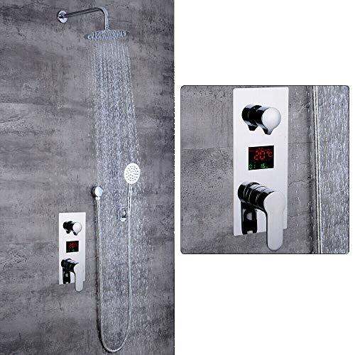 Columna de ducha integrada con pantalla LCD digital, sistema de ducha de mano, grifo digital empotrado, grifo de ducha, sistema de ducha con pantalla LCD de temperatura