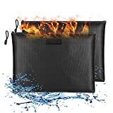 """Fireproof Document Bags (2Pack), 13.4""""x 9.8""""Water-Resistant and Fireproof Money Bag, Safe Storage Organizer Pouch with Zipper for A4 A5 Document Holder,File,Cash,Passport,Jewelry,Tablet"""