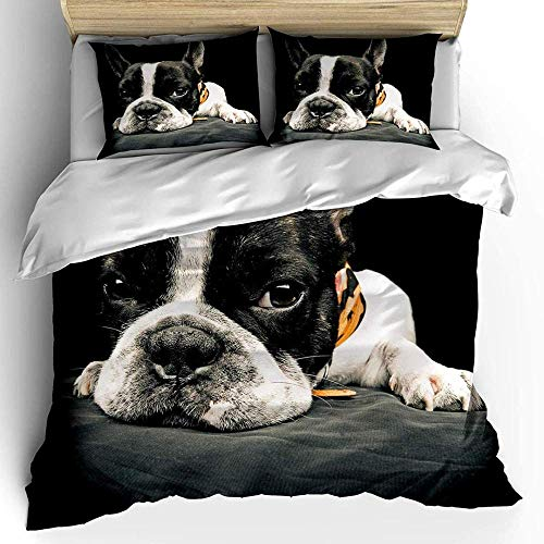 Dvvseso 3D Animal black white pug Bedding, Duvet Cover, Polyester Fabric With Invisible Zipper Quilt Cover,Teenage Bedroom Bedding, 3 Piece, 1 Duvet Cover, 2 Pillowcases, Best Gift For Birthday King