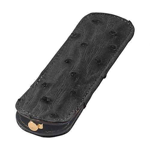 Leather Pen Sleeve, Ostrich Leather, Black, Fits One Pen