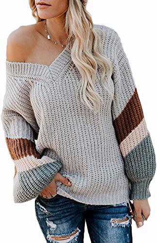 Asudaro Dames vrouwen mode effen sweater ronde hals sweatshirt losse lange mouwen gebreide trui jumper bovenstuk gebreid met V-hals voor winter herfst grijs