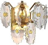 Lámpara De Pared Simple Y Fresca Moderna K9 luz pared cristalina, cobre cubierta de lujo lámpara de pared, decorativo Sala de estar Dormitorio Pasillo E14 lámpara de pared Candiles, H: los 26cm, W: 31