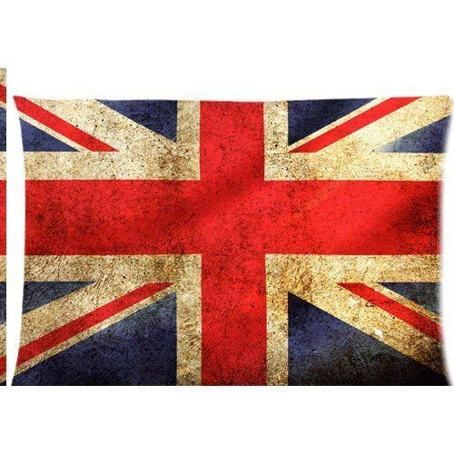 Zcfhike England United Kingdom Great Britain Flag of UK Pattern Printed Zippered Cuscino Cases Cover 20x30 inch