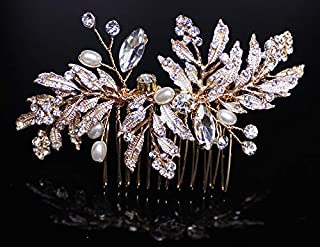 Wedding Hair Comb Crystal Vintage Bridal Hair Clips Accessories for Brides and Bridesmaids (Gold)