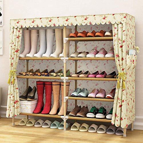 PIVFEDQX Zapatero para Muebles, 6 Niveles Cubos de Almacenamiento para 24 Pares de Zapatos Organizador de Zapatero para Guardar Zapatos Que Ahorra Espacio, Hecho de Tela no Tejida (Color: E)
