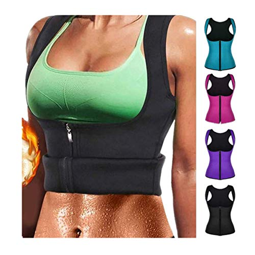 GoldPang Saunaanzüge für Damen Sauna Effekt Anzug Fitness Taille Waist Trainer Neopren Shirt Top für Sport Workout Korsett Heiße Body Shaper Damen Bauchweg Training Taillenkorsett