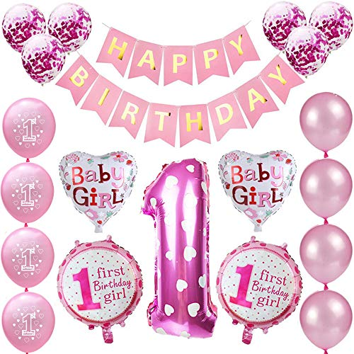 Kindergeburtstag Deko Mädchen 1 Jahr Ballons, 1. Geburtstag Dekorationen für Mädchen,Deko 1 Geburtstag Ballons,erst Geburtstag Deko Mädchen Happy Birthday Banner Luftballons Rosa Konfetti Helium Set