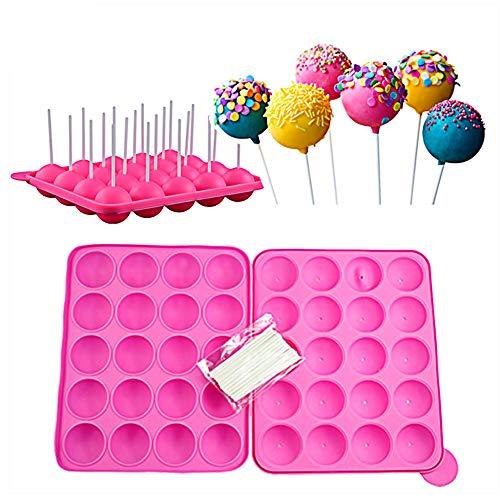 Guanici Molde Lollipop Cake pops molde Molde de Silicona para Cake Pop Bandeja esférica Bandeja de hielo con 20 piezas Palos Molde para hornear de cocina para dulces, gelatina y chocolate (rosa)