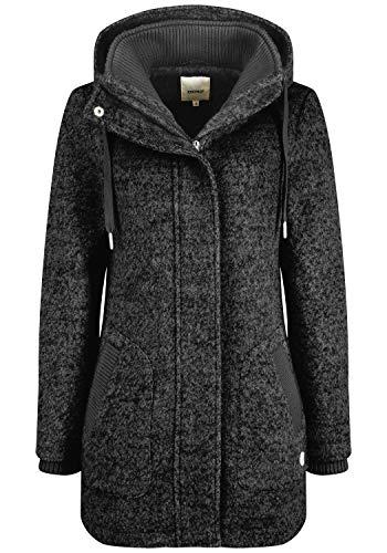OXMO Rieke Damen Wintermantel Wollmantel Winterjacke mit Kapuze, Größe:S, Farbe:Dark Grey Melange (1940071)