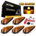 Partsam Amber Teardrop Cab Light 9LED Cab Marker Light 5pcs Front Rear Top Clearance Roof Running Light with Wiring Pack for Trucks, Vans, Pickups, semis and RVs