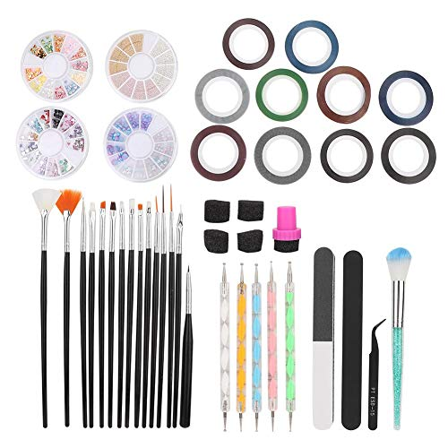 Liukouu Manucure Set, Nail Art Tool Set Peinture Pen Dotting Pen Polissage Lime à Ongles Sponge Seal Trousse à Outils De Manucur(01)