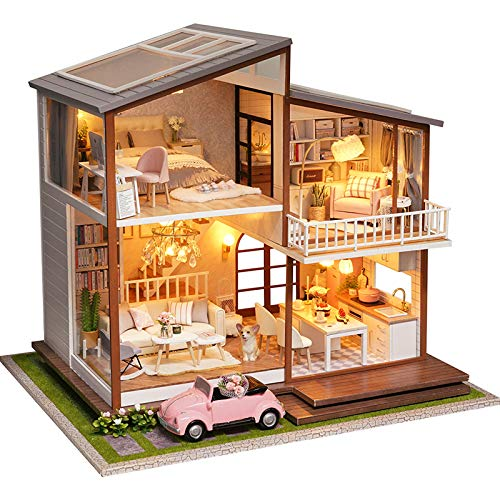 QT05 3D Wooden Miniature House with Dust Cover and Music Movement Miniature Dolls House kit Fsolis DIY Dollhouse Miniature Kit with Furniture