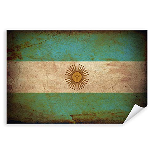 Postereck - 0299 - Vintage Flagge, Fahne Argentinien Buenos Aires - Unterricht Klassenzimmer Schule Wandposter Fotoposter Bilder Wandbild Wandbilder - Leinwand - 100,0 cm x 75,0 cm
