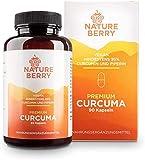 Cúrcuma prémium con 95% de curcumina y piperina, 90 cápsulas veganas.