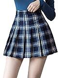 Falda corta de cintura alta para mujer, lisa, para patinar, tenis, colegio, uniforme de colegio, para niñas negro XS
