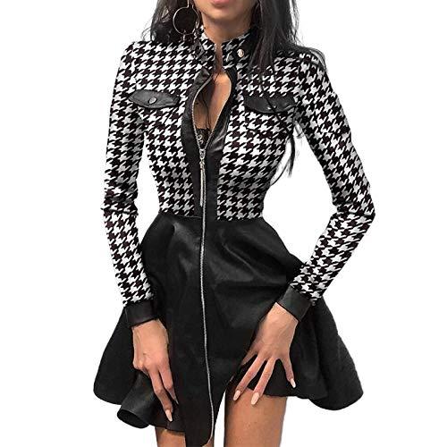 Dresses 2020 Autumn Vintage Long Sleeve Stand Collar Mini Women Elegant Patchwork Party Ladies Casual Zipper Vestido-02 Splaid-XL
