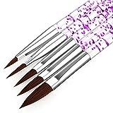 Juego de 5 herramientas de uñas con purpurina y diseño de acrílico para uñas de gel UV