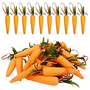 Wehhbtye 5 Inch Easter Carrot Hanging Ornaments – 30PCS Artificial Easter Foam Glitter Carrots Powder, Artificial Mini Easter Carrots Hanging Pendant for Home Party DIY Crafts Decor
