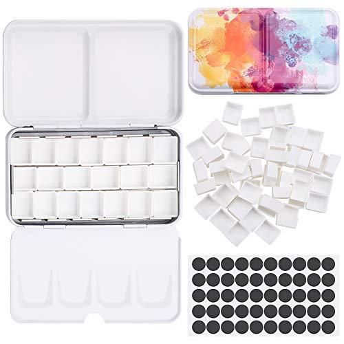 Caja de metal con 12 cajas de acuarelas para acuarelas, para acuarelas, artistas, aficionados, paleta de pintura con tapa, colores