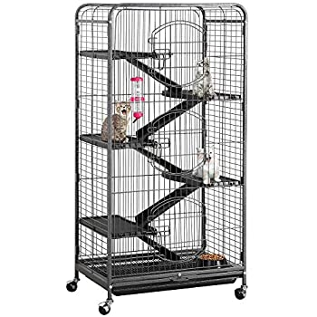 """Yaheetech 52"""" 6 Level Metal Rolling Cat Kitten Cage Critter Cage with 3 Front Doors/Feeder/Wheels Small Animal Cage Hutch Indoor Outdoor,Black"""