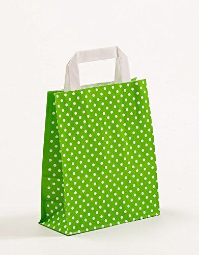Papiertragetaschen Punkte Apfelgrün Grün 18 x 8 x 22 cm VE 250 Stück