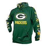 Zubaz NFL Bay Packers Men's Camo Print Accent Team Logo Synthetic Hoodie, Medium, Green