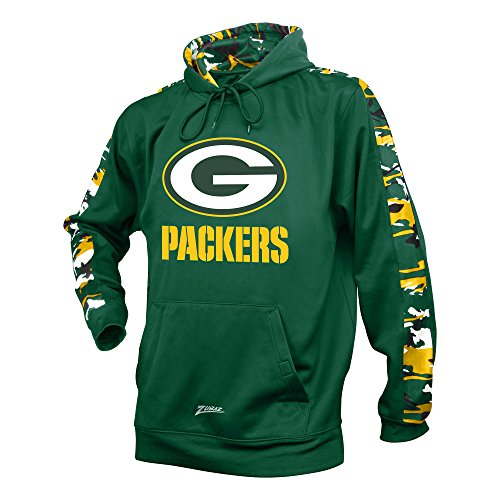 Zubaz NFL Bay Packers Men's Camo Print Accent Team Logo Synthetic Hoodie, XX-Large, Green