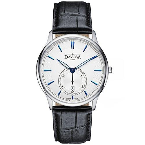 Davosa Swiss Flatline Analog Herren-Armbanduhr Echtleder weiß 16248315