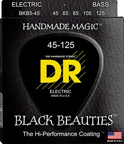 DR Strings Bass Strings, Black Beauties BASS Black Coated Nickel Plated Bass Guitar Strings on Round Core