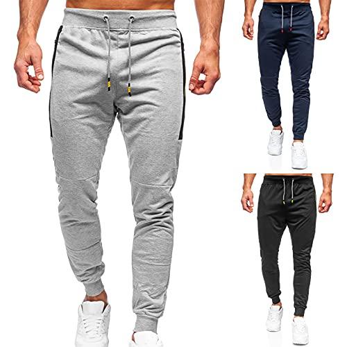 2021 Pantalones de chándal para hombre, pantalones de deporte, fitness, tiempo libre, pantalones de chándal con bolsillos, Negro , M