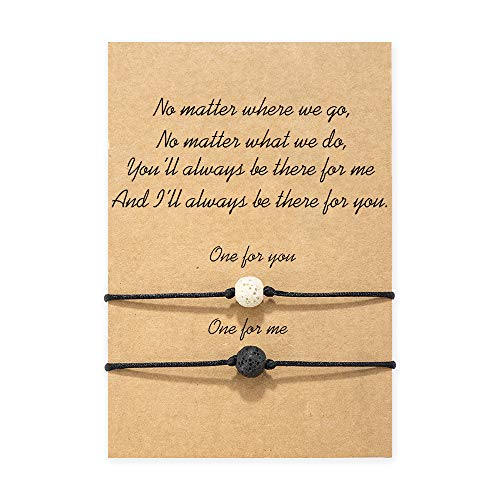 MANVEN Distance Couple Bracelets Matching Wish Bff Bracelet for 2 His Hers Best Friend Teens Boy Girls Sisters Women Men