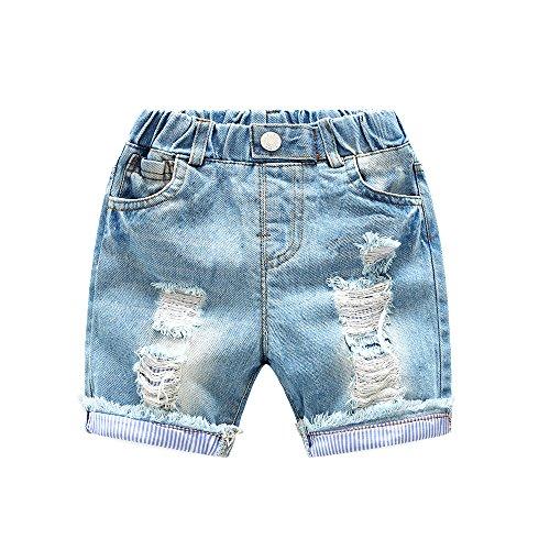 LAPLBEKE Kurze Hose Jungen Baby Jeans Shorts Kinder Sommer Kratzer Loch Zerrissen Hose Größe 92