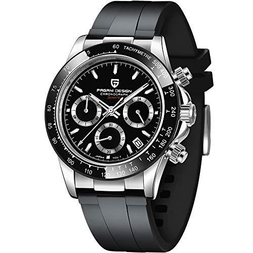 PAGANI DESIGN Herren-Quarz-Armbanduhr, Japanisches Uhrwerk, Sport-Chronograph, Edelstahl, multifunktional, wasserdicht
