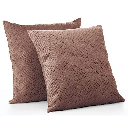 mDesign Juego de 2 fundas de cojín pespunteadas – Forro para cojines hipoalergénico de poliéster con aspecto de terciopelo – Suaves fundas decorativas para cojines de sofá sin relleno – marrón