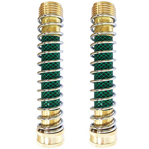 Amgate 2 Pcs Garden Hose Coiled Spring Protector with Solid Brass Faucet Hoses Coupling Adapter Extension